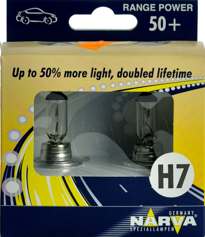 Лампы автомобильные Narva Range Power H7 + 50%, комплект 2 шт.