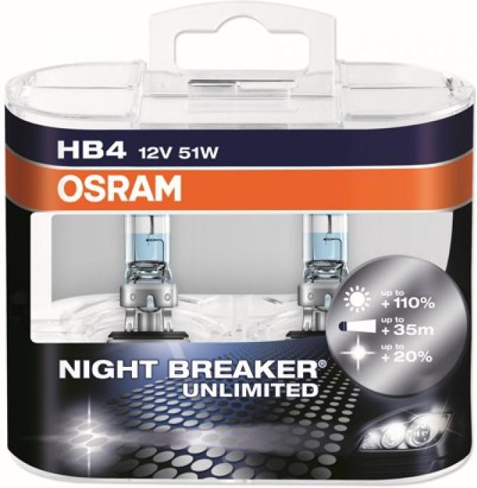 Лампы автомобильные Osram Night Breaker Unlimited HB4, комплект 2 шт.