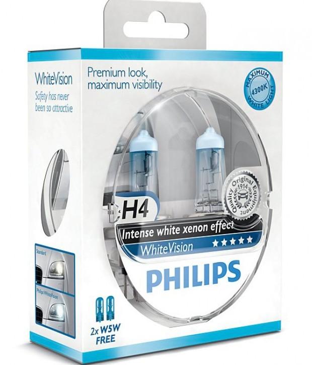 Лампы автомобильные Philips White Vision H4, комплект 2 шт.