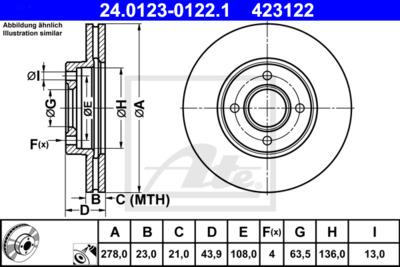 Диск тормозной передний Ford Transit 14-/B-Max