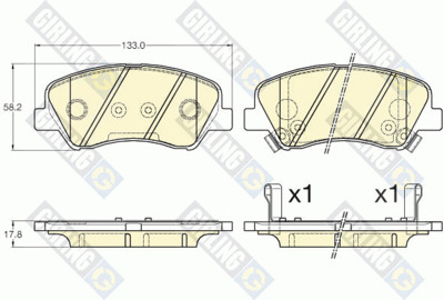 Колодки тормозные Hyundai Solaris 10-/Kia Rio 11- передние