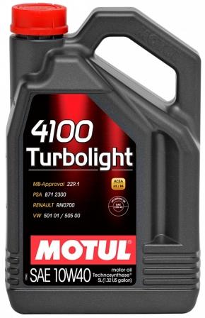 Масло моторное Motul 4100 Turbolight 10W-40, 4 л.