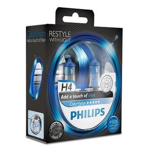 Лампы автомобильные Philips Color Vision H4 Синий, комплект 2 шт.