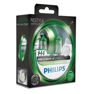 Лампы автомобильные Philips Color Vision H4 Зеленый, комплект 2 шт.