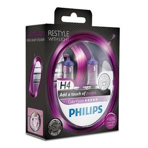 Лампы автомобильные Philips Color Vision H4 Фиолетовый, комплект 2 шт.