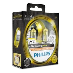 Лампы автомобильные Philips Color Vision H4 Желтый, комплект 2 шт.