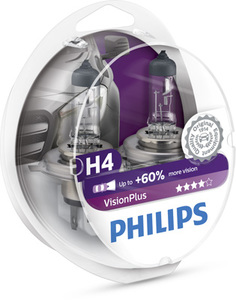 Лампы автомобильные Philips Vision Plus H4, комплект 2 шт.