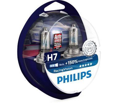 Лампы автомобильные Philips Racing Vision +150 H7 комплект, 2 шт.