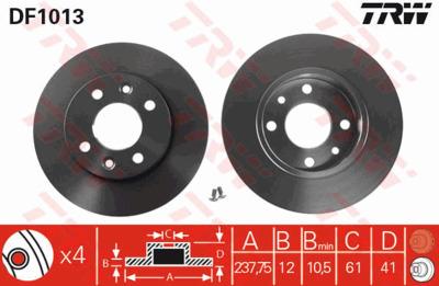 Диск тормозной Renault Logan/Clio/Megane/Sandero передний не вентилируемый D=238 mm.