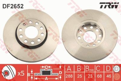 Диск тормозной Audi 100 91>/A4 95>08/A6 95>05/VW Passat 97>00 передний вентилируемый