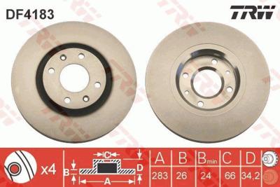 Диск тормозной Citroen Berlingo +ESP/C5/C4/Peugeot 207 05>/307 05> передний