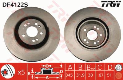 Диск тормозной Mercedes ML W163 270-500 98-05 передний D=345мм.