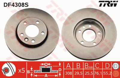 Диск тормозной VW Multivan/T5 03-/Touareg 02-10 передний D=308мм