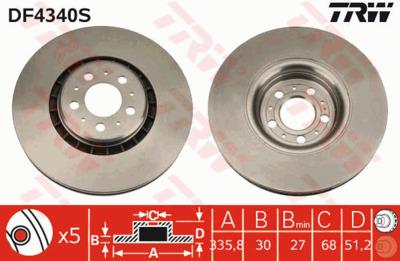 Диск тормозной Volvo XC90 02> R17 передний вент. D=336мм